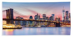 Purple Nyc Sunset Beach Towel