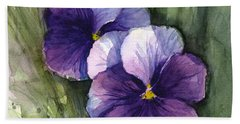 Purple Pansies Watercolor Beach Towel