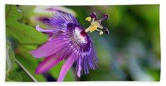 Purple Passion Flower Beach Sheet