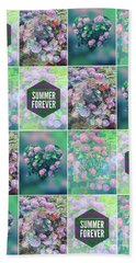 Purple Pink Hydrangea Geometric Patchwork Quilt Beach Towel