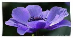Purple Poppy Mona Lisa Beach Towel