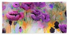 Purple Poppy Passion Painting Beach Towel