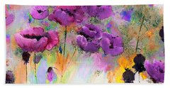 Purple Poppy Passion Painting Beach Sheet by Lisa Kaiser