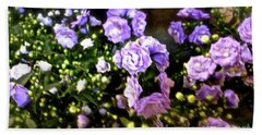 Beach Towel featuring the photograph Purple Pretties by Beth Saffer