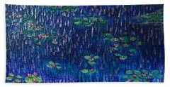 Beach Towel featuring the painting Purple Rain On Water Lilies by Amelie Simmons