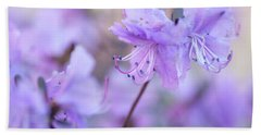 Beach Sheet featuring the photograph Purple Rhododendron 1. Spring Watercolors by Jenny Rainbow