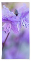 Beach Sheet featuring the photograph Purple Rhododendron. Spring Watercolors by Jenny Rainbow