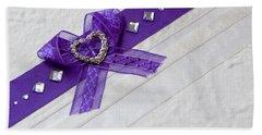 Purple Ribbon Heart Beach Towel