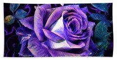 Purple Rose Bud Painting Beach Sheet