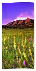 Purple Skies And Wildflowers Beach Towel by Scott Mahon