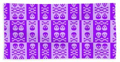 Purple Skull And Crossbones Pattern Beach Towel