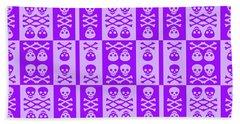 Purple Skull And Crossbones Pattern Beach Sheet by Roseanne Jones