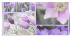 Beach Towel featuring the photograph Purple Spring Bloom Collage. Shabby Chic Collection by Jenny Rainbow