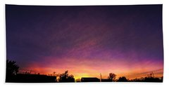 Purple Sunset Beach Towel by Karen Slagle