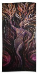 Purple Tree Goddess Beach Towel