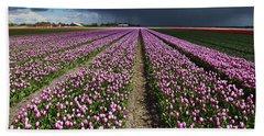 Purple Tulips Field Beach Sheet