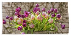 Beach Towel featuring the photograph Purple Tulips In A Bucket by Patricia Hofmeester