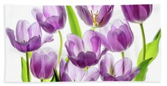 Beach Towel featuring the photograph Purple Tulips by Rebecca Cozart