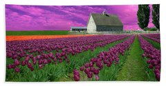 Purple Tulips With Pink Sky Beach Towel