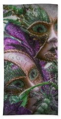 Beach Towel featuring the mixed media Purple Twins by Amanda Eberly-Kudamik