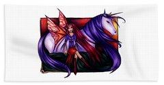Purple Unicorn With Fairy Friend Beach Towel