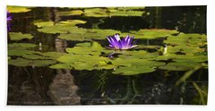 Purple Water Lilly Distortion Beach Towel