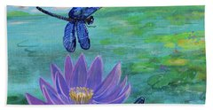 Purple Water Lily And Dragonflies Beach Sheet