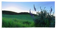 Beach Towel featuring the photograph Purple Wildflowers In Beautiful Green Pastures by Matt Harang