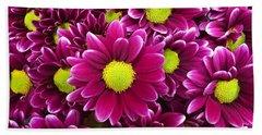Purple Yellow Flowers Beach Sheet