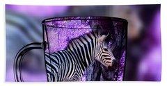 Purple Zebra Beach Towel