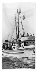 Purse Seiner Western Flyer On Her Sea Trials Washington 1937 Beach Sheet by California Views Mr Pat Hathaway Archives