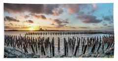 Pylons Mill Sunset Beach Towel by Greg Nyquist