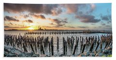 Beach Sheet featuring the photograph Pylons Mill Sunset by Greg Nyquist