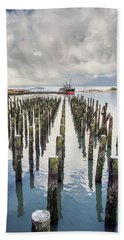 Beach Sheet featuring the photograph Pylons To The Ship by Greg Nyquist