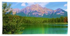 Pyramid Mountain Over Teal Waters Beach Towel