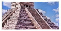 Pyramid Of Kukulcan At Chichen Itza Beach Sheet