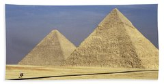 Pyramids At Giza Beach Towel by Mark Greenberg