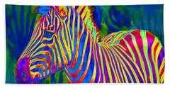 Pyschedelic Zebra Beach Sheet by Jane Schnetlage