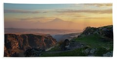 Qasakh Gorge And Ararat Mountain At Golden Hour Beach Towel by Gurgen Bakhshetsyan