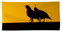 Quail At Sunset Beach Towel