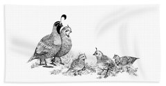 Quail Family Outing Beach Towel