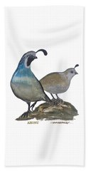 Quail Parents Wondering Beach Towel