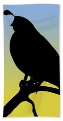 Quail Silhouette At Sunrise Beach Towel