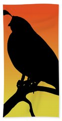 Quail Silhouette At Sunset Beach Towel