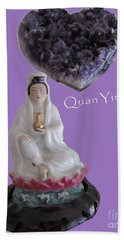 Quan Yin With Amethyst Heart Beach Sheet