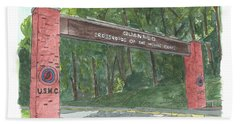 Beach Towel featuring the painting Quantico Welcome by Betsy Hackett