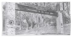 Beach Towel featuring the drawing Quantico Welcome Graphite by Betsy Hackett