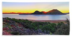 Quartz Mountains And Lake Altus Panorama - Oklahoma Beach Sheet by Jason Politte