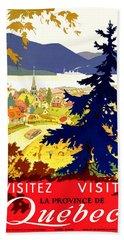 Quebec, Canada, Travel Poster Beach Towel