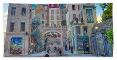 Quebec City Mural Beach Towel